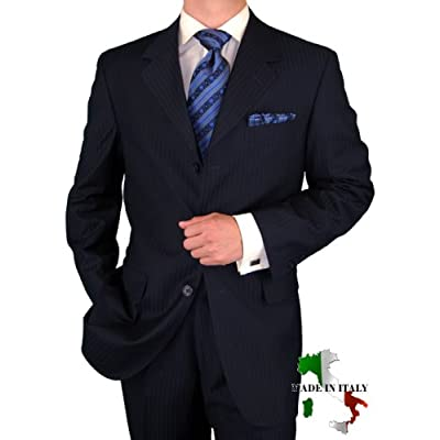 Gino Valentino Made in Italy Mens Suit 3 Button 2pc Canvas Front Jacket Italian Suit Australian Merino Wool / Silk 150s Navy Stripe
