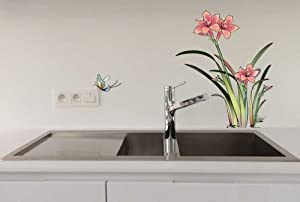 Design Narcissus and Butterflies Wall Sticker Kitchen or Bathroom Decor from New Design