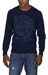 US POLO ASSOCIATION Men's Blended Sweatshirt (USSW0462_Blue_Small)