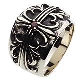 【セノーテ】 cenote r5039 25号 【ホワイトメタルアクセサリー リング・指輪】 フローラルクロス リリー ゴシック メンズ