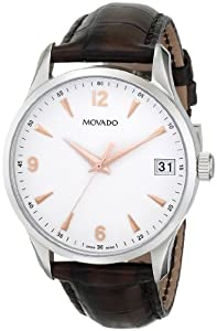 """Movado Men's 0606570 """"Circa"""" Brown Leather Dress Watch"""