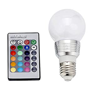 image 16 color changing led light bulb with remote control for party. Black Bedroom Furniture Sets. Home Design Ideas