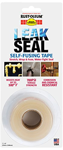 "Rust-Oleum 276714 Leakseal Clear Silicone Self-Fusing Tape, -50 To 400 Degrees F Performance Temperature, 10' Length, 1"" Width (Pack Of 6)"