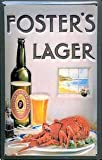 Fosters Lager (Lobster) embossed metal sign (hi 2030)
