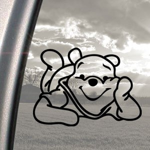 Winnie the pooh black decal car truck bumper window for Getting stickers off glass