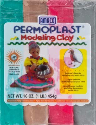 AMACO Permoplast Non-Hardening Plastic Modeling Clay Assortment, 1 lb