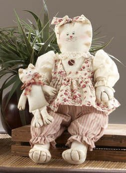 """Delton Primitive Country Cat with Baby Shelf Sitter Doll, Red 13"""" - 1"""