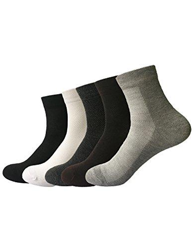 Zando da uomo Casual in cotone confortevole traspirante calzini Athletic Sport 5 Pairs Taglia Unica: 20 cm- 27 cm(Misura scarpa: 40-44)