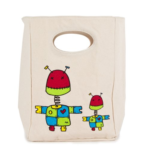 FLUF ROBOT Lunch Bag, 11-Inch L by 8-Inch W by 4-1/2-Inch D