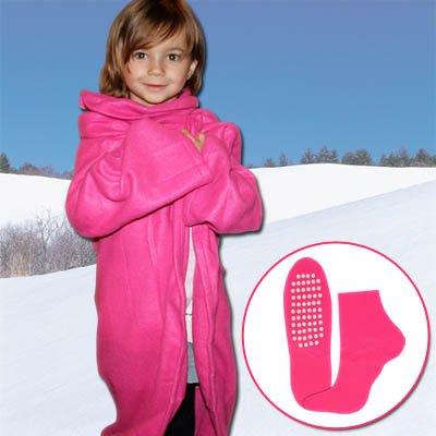 Kinder-Kuscheldecke Decke Wolldecke mit Ärmeln + Socken, blau und pink