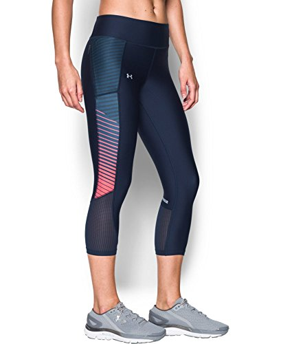 Under Armour Women's Fly-By Printed Capri, Midnight Navy (410), X-Small