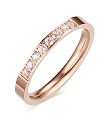 buy 3Mm Stainless Steel Thin Prong Cubic Zirconia Wedding Ring Bands For Men And Women, Rose Gold,Size 7