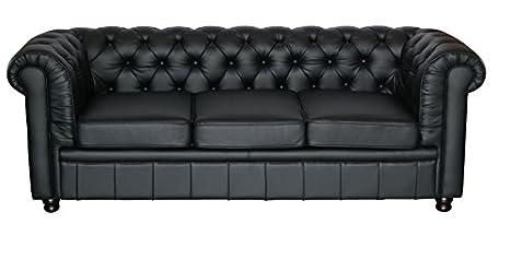 Chesterfield Oxford Sofa 3 Sitzer schwarz