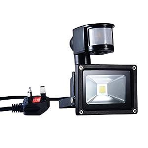 PryEU Waterproof 10 Watts LED Motion PIR Sensor Outdoor Flood Security Lights 6000K Daylight Landscape Night Light UK 3-prong Plug In from SMART SUPPLY