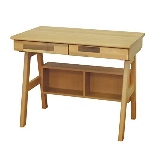 ISSEIKI デスク 木製机 【木目の美しいビーチ無垢材】 幅90cm、前板は見た目が楽しいモザイク柄のMIX材使用