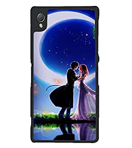 Printvisa Love Couples In Moonlight Back Case Cover for Sony Xperia Z3::Sony Xperia Z3 D6653 D6603