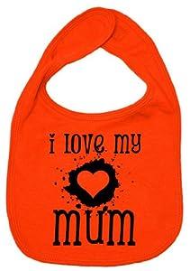 Dirty Fingers, I Love my Mum, Boy Girl Feeding Bib, Orange