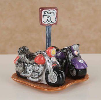 Route 66 Ceramic Motorcyle Salt & Pepper Shakers with Base