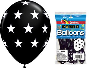 "PIONEER BALLOON COMPANY 5 Count Round Big Stars, 11"", Onyx"