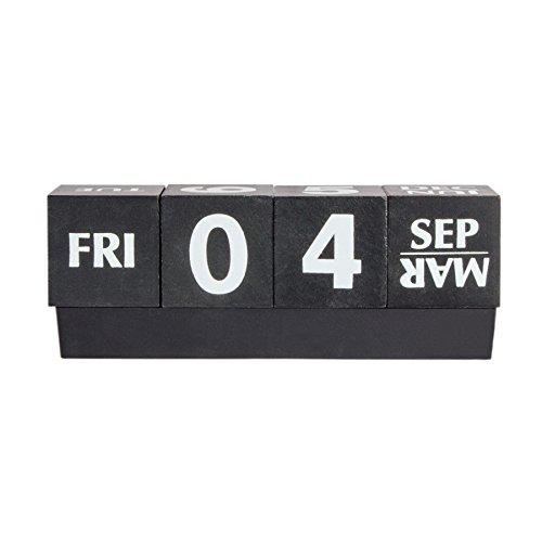 Kalender Cube Tischkalender Dauerkalender Schwarz Holz Mit Wochentag