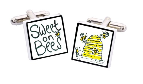 Sonia Spencer England Bone China Square Silver Plated Back Hand Decorated Sweet Bees Cufflink