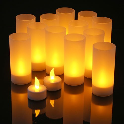 Aometech Set Of 12 Restaurant Quality Led Rechargeable Flameless Tea Light Candles With Difused Votives / Flickering Amber Leds + 12 Frosted Holders