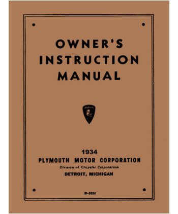 1934 Plymouth Owners Manual User Guide Reference Operator Book Fuses Fluids купить
