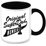 HomeSoGood Original Super Dad Black & White Ceramic Coffee Mug - 325 Ml