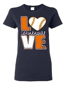 Buy Love Detroit Baseball Screen Printed Ladies Cut Navy Blue T Shirt by GenesisInk