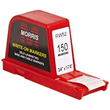 "Morris Products 21234 Write and Wrap Dispenser, 3/4 x 1-7/8"" Label, 3/4 x 1/2"" Write Area"