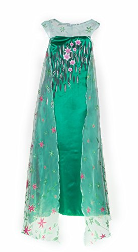 Girl Snow Princess Dress Costume with Glittering Flower Cape, SZ 4-12 Green