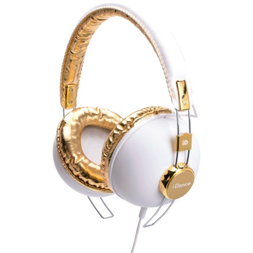 Idance Hipster 703 Headband Headphones - White & Gold back-177579