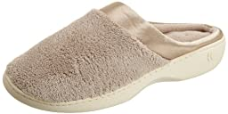 Isotoner Women\'s Microterry PillowStep Satin Cuff Clog Slippers, Taupe,7.5/8
