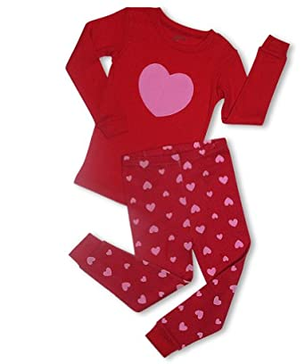 "Leveret Little Girl ""Hearts"" 2 Piece Pajama 100% Cotton (Size 6M-5T) (6-12 Months, Red)"