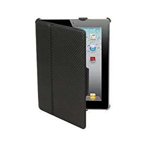 Amzer Shell Portfolio Case Carbon Fibre Texture for Apple iPad 2 - Black (AMZ90811)