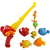 Rod and Reel Fishing Bath Toy Set for Kids with Musical Light-up Fishing Pole and 6 Unique Fish