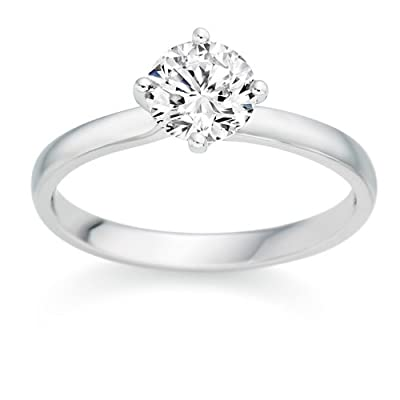 1/2 Carat F/VS1 Round Brilliant Certified Diamond Solitaire Engagement Ring in Platinum