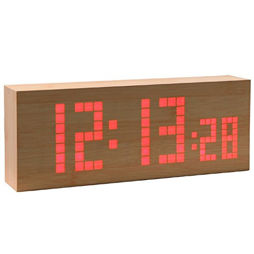 Best-Mall Novelty Lattice Red Led Wooden Grain Snooze Calendar Wood Table Alarm Clock With Dual Screen Big Number Display And Temperature-12H/24H Conversion-Dual Power Supply- The Brightness Can Be Reduced Automatically To Half Function
