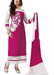 Shreenathji Enterprise Pink Georgette Dress Materials (H124-03_pink_Free size)