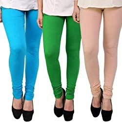 YASMIN Ladies Cotton Lycra Leggings Combo (Pack of 3)