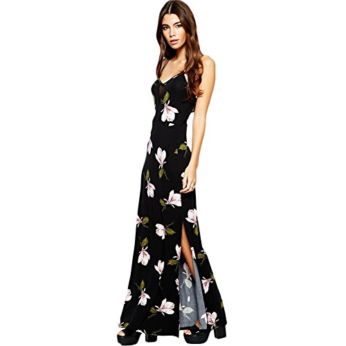 Wawoo® Vintage Flower Prints Maxi Dress High Split Cross Straps Back Long Dresses For Women
