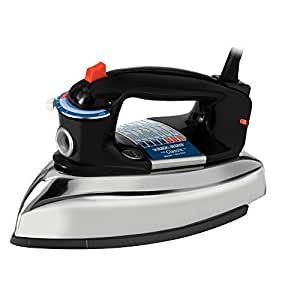 BLACK+DECKER F67E Classic Iron with Aluminum Soleplate, Black/Silver