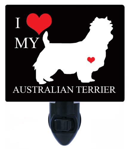 Night Light - I Heart My Australian Terrier - Dog Pet Love Led Night Light