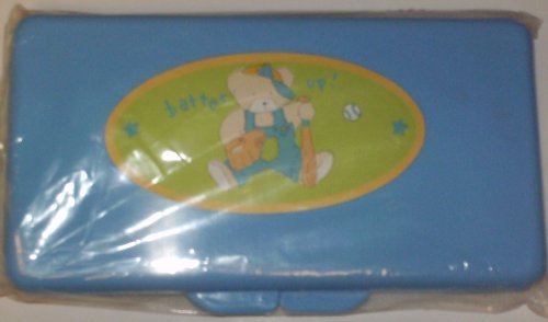 Blue Baseball Bear Baby Wipes Case - 1