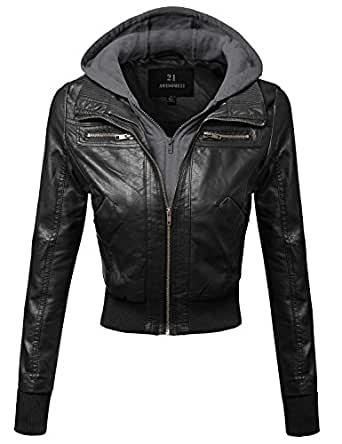 Awesome21 Women's Faux Leather Bomber Military Style