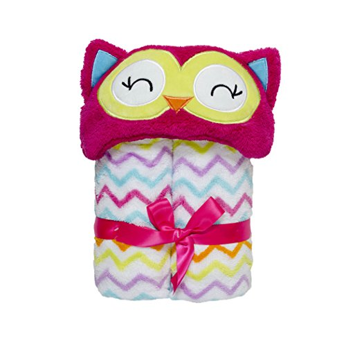 Baby Grear Baby Girls Velboa Plush Hooded Animal Buddy Character Full Expanding Blanket With Gift Wrap Bow, Pink Owl