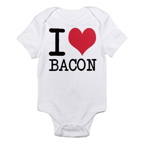 Cafepress I Love Bacon Products Check Infant Bodysuit - 12-18M Cloud White