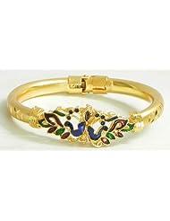 Meenakari Peacock Design Gold Plated Hinged Bracelet - Metal - B00K4F2WF2