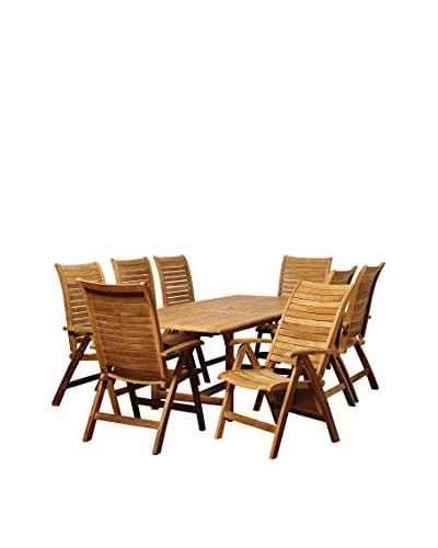 Amazonia Teak Iowa 9-Piece Extendable Rectangular Dining Set, Brown