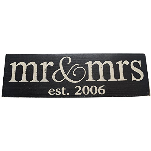 Mr Mrs Est 20XX Vintage Wood Sign for Wedding Anniversary Decoration Prop and Gift or Wall Decor PERFECT WEDDING GIFT (2006)
